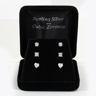 Sunstone Sterling Silver Cubic Zirconia Stud Earrings Set with Gift Box