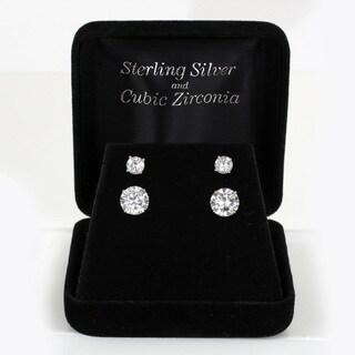 Sunstone Sterling Silver Cubic Zirconia Round-cut Stud Earrings Set with Gift Box