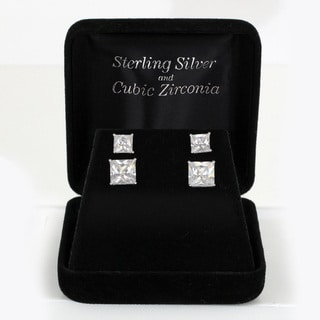 Sunstone Sterling Silver Cubic Zirconia Princess-cut Stud Earrings Set with Gift Box
