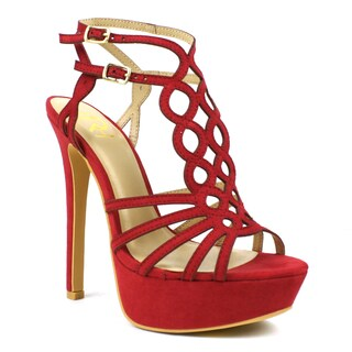 Fahrenheit Women's 'Divina-06' Red Laser-cut High Heel Sandals