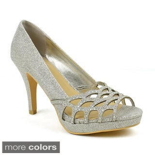 Celeste Women's 'Melissa-03' Embellished Laser-cut Dress Pumps