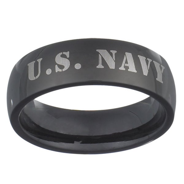 Black Stainless Steel U.S. Navy Military Band