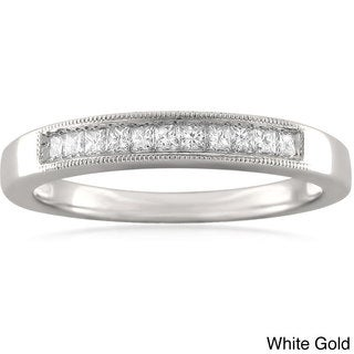 14k White or Yellow Gold 1/4ct TDW Princess-cut Diamond Milligrain Wedding Band (I-J, VS2)
