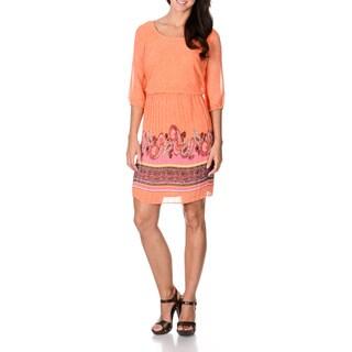 Amanda Charles Women's Tangerine Paisley Trim Crystal-pleated Dress