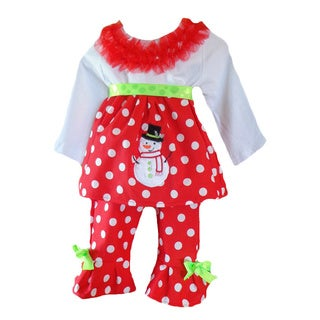Girls Christmas Snowman Polka Dot 2-piece Clothing Set