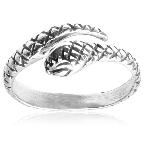 Journee Collection Sterling Silver Adjustable Snake Midi Knuckle Ring