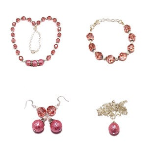 Medium Pink Moonscape Textured Glass Pearl 4-piece Jewelry Set