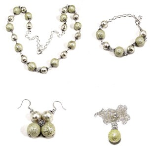 Off-white Moonscape Cystal 4-piece Wedding Jewelry Set