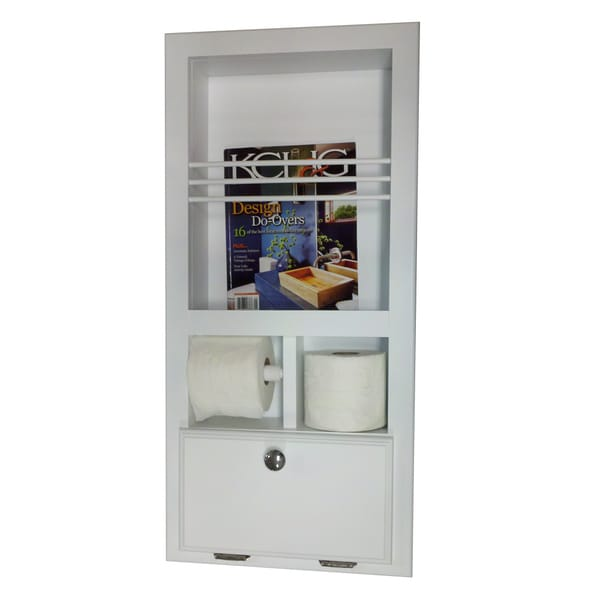Key West Series 10 Recessed Magazine Rack with Toilet Paper Holders and Storage