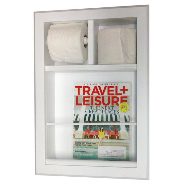 Key west series recessed magazine rack and double toilet paper holder 16448915 for Recessed in the wall bathroom magazine rack