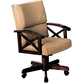 Game Chair with Beige Upholstry and Cherry Wood