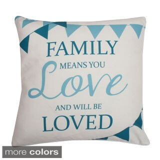 Family Sentiment Feather-filled 20-inch Throw Pillow
