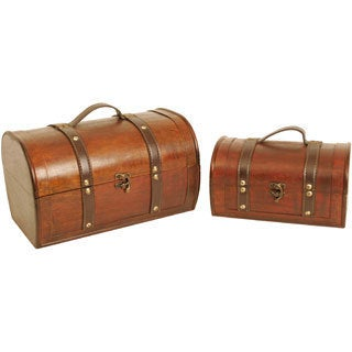 Wald Imports Dark Wood Trunks (Set of 2)