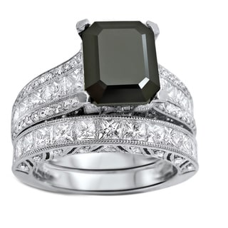 Noori 18k White Gold 5 1/2ct TDW Black Emerald-cut Diamond Bridal Set (VS1-VS2)