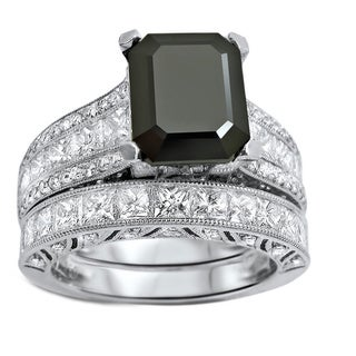 Noori 18k White Gold 5 1/2ct TDW Black Emerald-cut Diamond Bridal Set