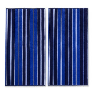 Superior Oversized Aqua Stripes Cotton Jacquard Beach Towel (Set of 2)
