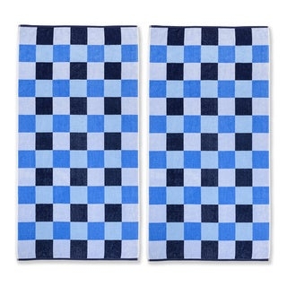 Superior Oversized Cool Checks Cotton Jacquard Beach Towels (Set of 2)