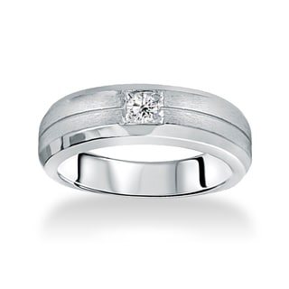 14k White Gold Men's 1/ 6ct TDW Brushed Diamond Wedding Band (I-J, I2-I3)