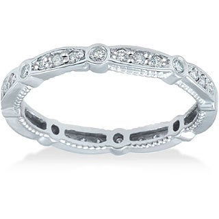 Bliss 14k White Gold 1/2ct TDW Vintage Diamond Eternity Ring (I-J, I2-I3)