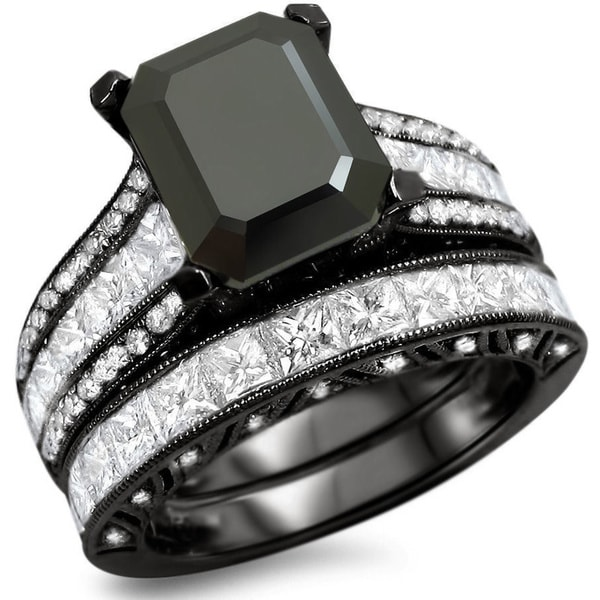 Noori 18k Black Gold 5 1/2ct TDW Black Emeraldcut Diamond Bridal Set