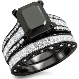 Noori 18k Black Gold 5 1/2ct TDW Black Emerald-cut Diamond Bridal Set (F-G, VS1-VS2)