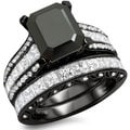 18k Black Gold 5 1/2ct TDW Black Emerald-cut Diamond Bridal Set (F-G, VS1-VS2)