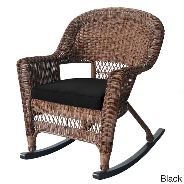 Honey Rocker Wicker Chairs With Cushions Set Of 2