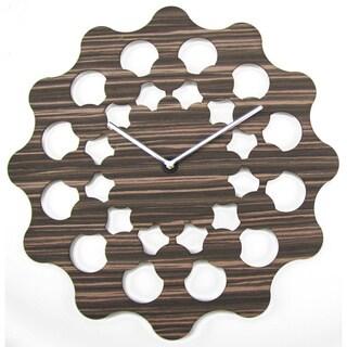 19-inch Fiorenza Brown Mid-century Modern Wooden Clock