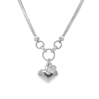 Gioelli Sterling Silver 1/3ct TDW Diamond Heart Necklace (H-I, I2-I3)
