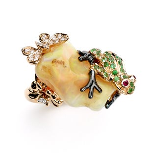 Neda Behnam Soho Boutique 18k Rose Gold 1/8ct TDW Diamond and Gemstone Frog Ring (H-I, SI1-SI2)