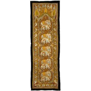 Burmese Five Elephant Long Tapestry Wall Hanging (China)