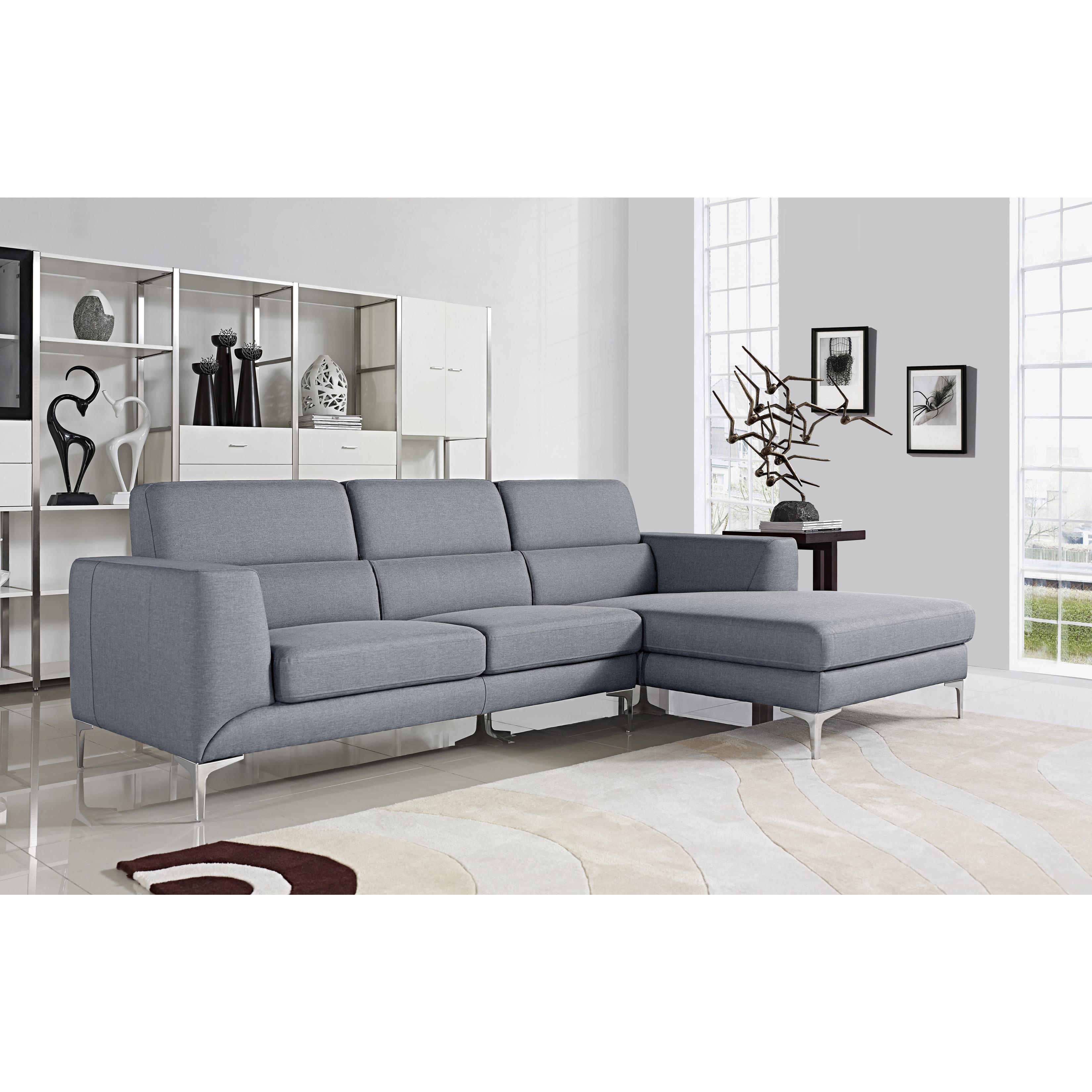 Modern Sectional Sofas Grey: Xena Light Grey Modern Sectional Sofa Set