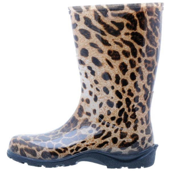 Garden Outfitters Women's Leopard Print Brown Waterproof Rainboots (Size 7)