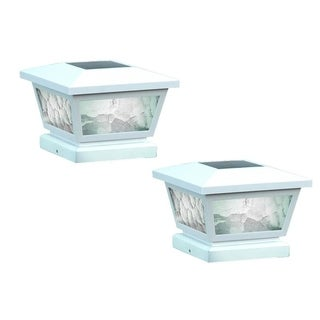 White Fairmont Solar Post Cap (Set of 2)