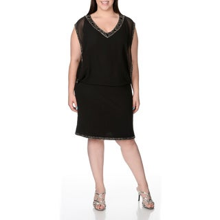 J Laxmi Women's Plus Size Black Blouson Short Dress