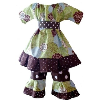 Girls Boutique-style Floral/ Polka-dot 2-piece Clothing Set
