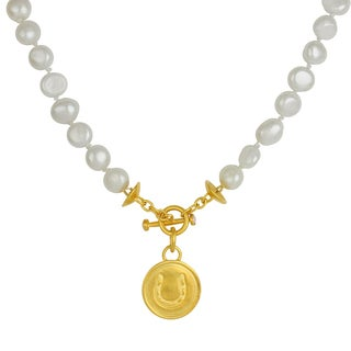 Sunstone Catherine Canino 18k Yellow Goldplated Brass Freshwater Pearl Horseshoe Necklace