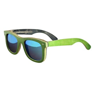 Earth 'Malibu 012gm' Green Lens Wooden Sunglasses