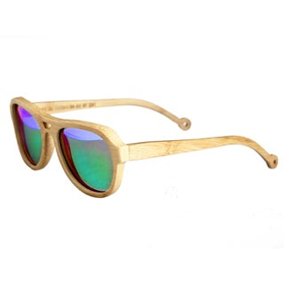 Earth 'Coronado 019b' Green Lens Wooden Sunglasses