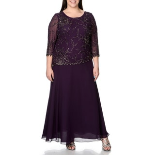 J Laxmi Women's Plus 3/4 Sleeve Beaded Mock 2-piece Evening Gown