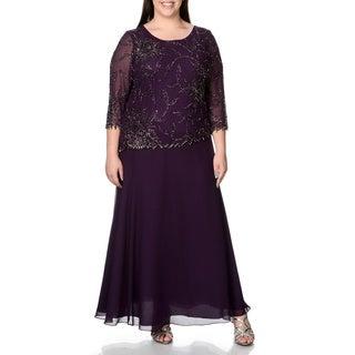 J Laxmi Women's Plus 3/4 Sleeve Beaded Mock 2-piece Evening Gown