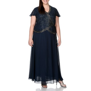 J Laxmi Women's Plus Size Navy Beaded Mock 2-piece Gown