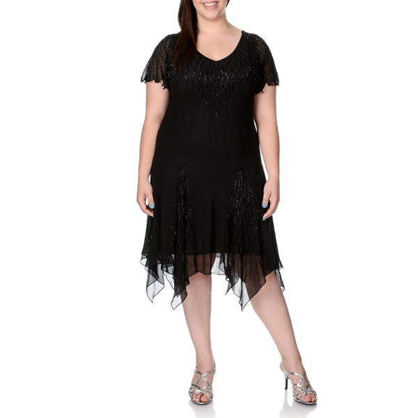 J Laxmi Women's Plus Size Black Beaded V-Neck Flutter Dress