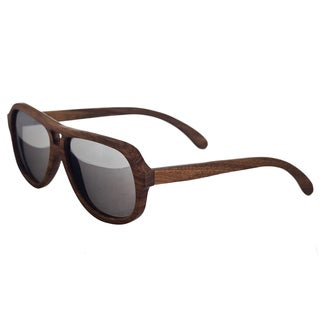 Earth 'Cannon 065z' Silver Lens Wooden Aviator Sunglasses