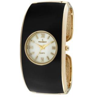 Peugeot Women's 7085BK Black Enamel Cuff Watch