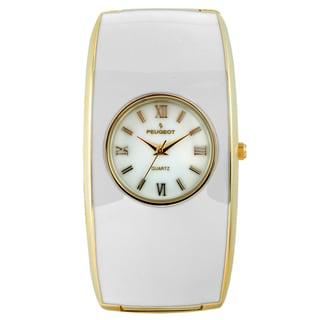 Peugeot Women's 7085WT White Enamel Cuff Watch