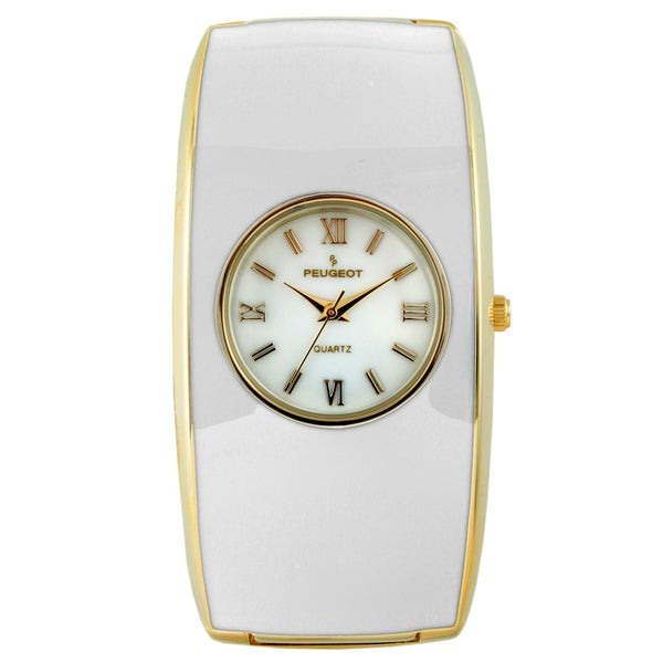 Peugeot Women's 7085WT White Enamel Cuff Watch