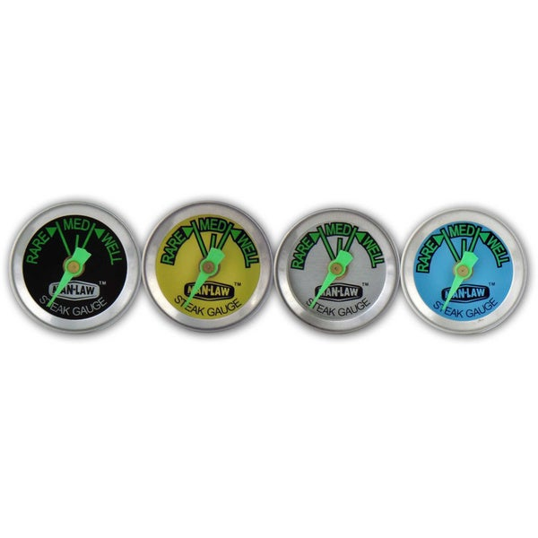 Man Law Steak Thermometer with Glow in the Dark Dial (Set of 4)