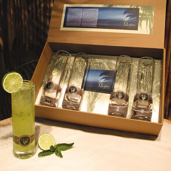 Cork Pops 90000 Mojito Gift Glasses (Set of 4) and Gift Box with Recipe Book