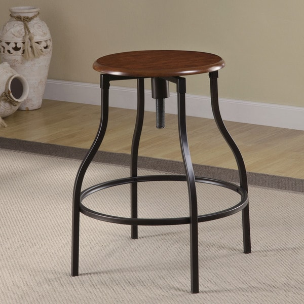 Black Metal Adjustable Bar Stool